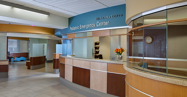 Check-in area at Makenna David Pediatric Emergency Center