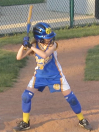 Adrianne at bat.