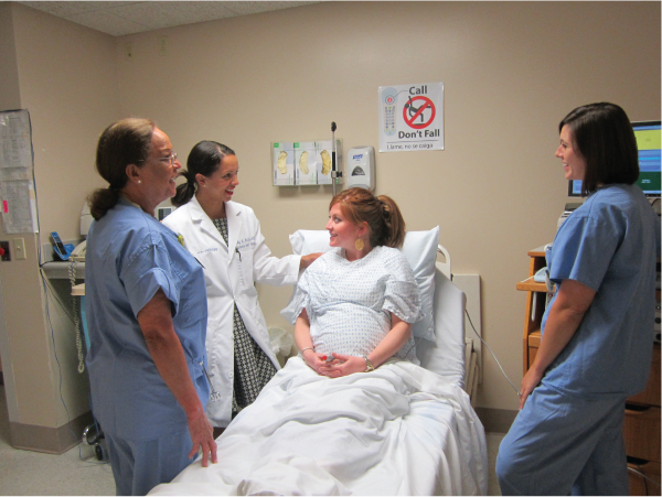 Birthing Center evaluation by nurse and doctor