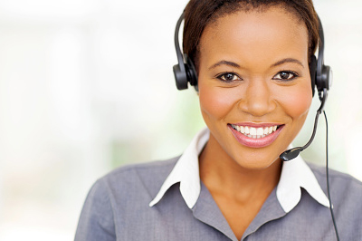 A call center operator ready to take a call.