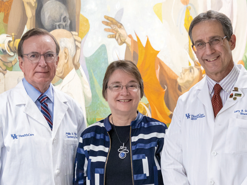 L to R, Dr. Phillip Tibbs, Chair, Department of Neurosurgery; Dr. Linda Van Eldik, Co-Director, UK KNI; and Dr. Larry Goldstein, Co-Director, UK KNI