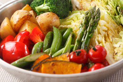 A colorful plate of vegetables.