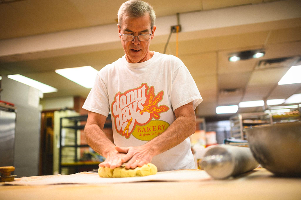 Fred Wohlstein kneads dough at his bakery.