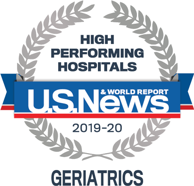 U.S. News & World Report badge for high-performing hospitals in geriatrics for 2019