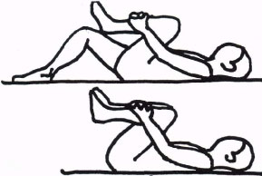 Single knee to chest back exercise illustration