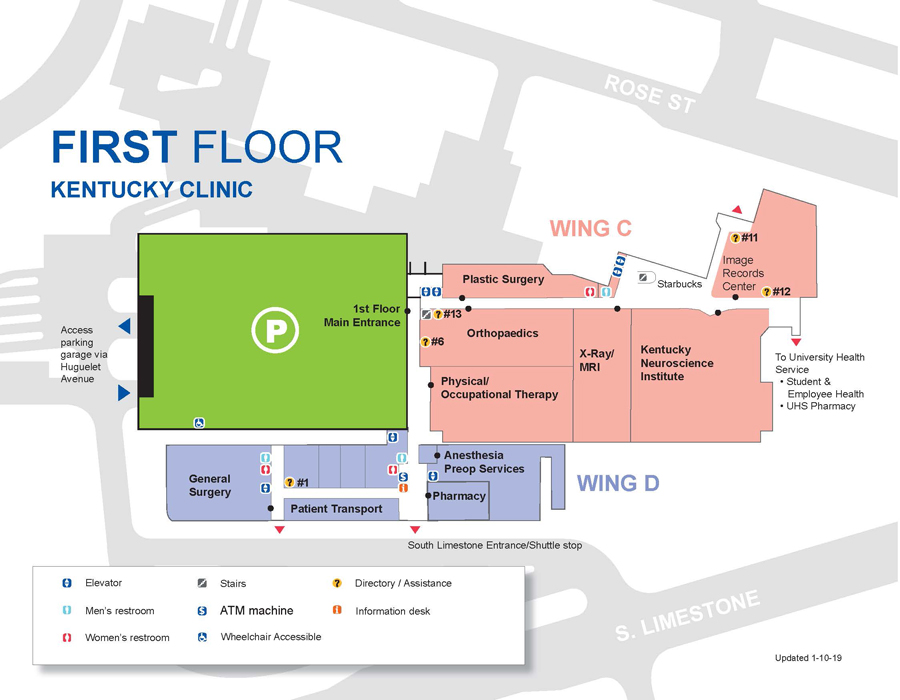Kentucky Clinic first floor map