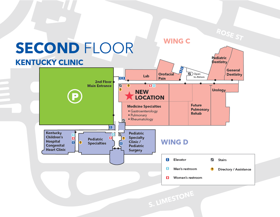 Kentucky Clinic Second Floor Map