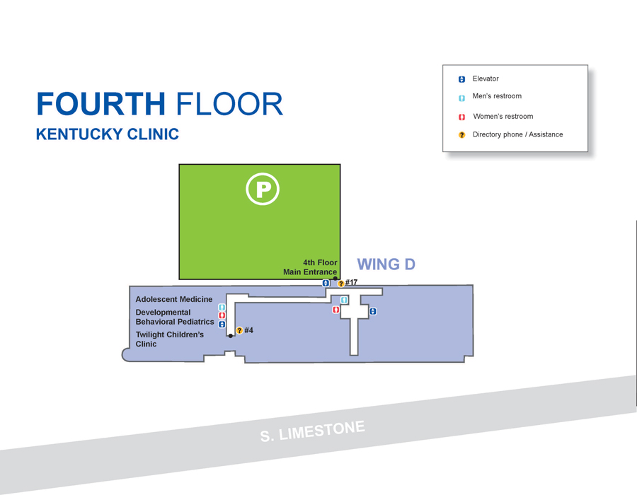 Kentucky Clinic fourth floor map