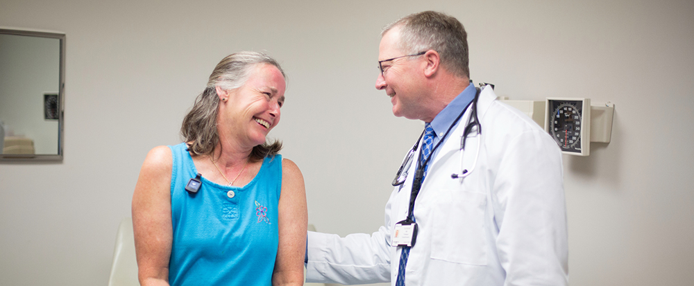 Dr. Mullet and lung cancer patient, Vickie Duff