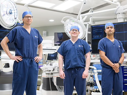 Left to right: Michael Bounds, MD; Nathan Orr, MD; and Samuel Tyagi, MD in the operating room.