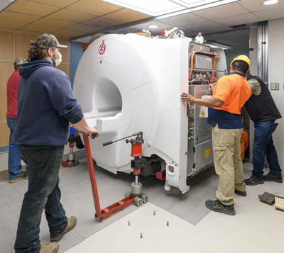 An MRI machine is installed at Good Samaritan Hospital.