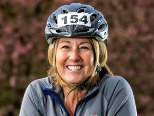 Patty Lane in bike helmet
