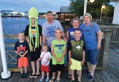 Kentuckians Reuben and Janet Ligon vacationing with their six grandsons at Myrtle Beach, S.C.– their first family vacation in more than 10 years, made possible by Reuben's new, healthy heart.