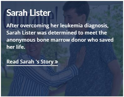 Example of summary text appearing over patient story teaser image.