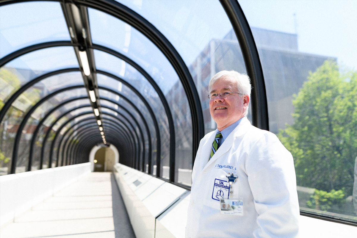 Dr. Tom McLarney on a pedestrian walkway.