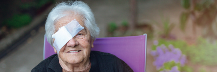 Woman with bandaged eye